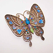Vintage CHINA SILVER Vermeil & Enamel Butterfly Pin/Brooch!