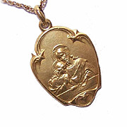 Art Nouveau FRENCH GOLD FILLED First Communion Medal/Pendant!