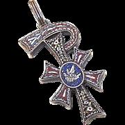 ANTIQUE VICTORIAN Italian 800/900 Silver & Micromosaic Religious PAX Pendant!
