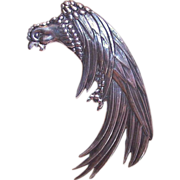 LOS CASTILLO Mexico C.1950 Sterling Silver Parrot Pin - Wonderfully Large!