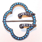 """ANTIQUE VICTORIAN Sterling Silver, Glass Turquoise & Rhinestone Paste """"Buckle"""" Pin/B"""