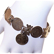 Interesting C.1950 COIN SILVER Vermeil Link Bracelet!