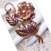 1950s STERLING SILVER Vermeil Floral Pin - Rose Gold Coloring!