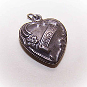 Vintage Sterling Silver Puffy Heart Charm - I Love U!