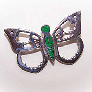 Vintage STERLING SILVER & Inlay Stone Pin/Brooch - Butterfly