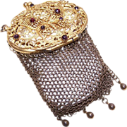 Adorable Gilt Metal & Rhinestone Mesh Coin Purse with Butterfly Lid!