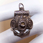 RARE C.1890 French Silver Religious Stanhope Charm - Faith, Hope & Charity!