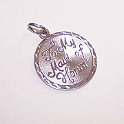 Vintage STERLING SILVER Disc Charm - To My Maid of Honor!