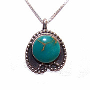 Vintage Native American STERLING SILVER & Turquoise Pendant!