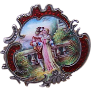 "ANTIQUE VICTORIAN Silver & Enamel ""Two Sweethearts"" Pin/Brooch!"