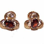 SALE Retro Modern 18K Gold & 1.50CT TW Bohemian Garnet Earrings!