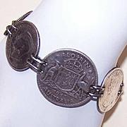Vintage Australian COIN SILVER Sweetheart Bracelet!