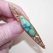 ANTIQUE EDWARDIAN 14K Gold & Natural Turquoise Nugget Bar Pin/Brooch!