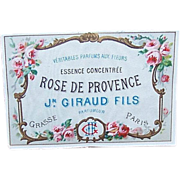 "C.1900 FRENCH Paper Label ""Rose de Provence"" - Stunning Florals!"