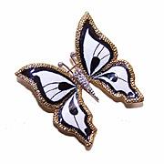 ESTATE 18K Gold, Enamel & .10CT TW Diamond Pin/Brooch/Pendant - Black & White BUTTERFL
