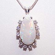 ESTATE 14K Gold, 6CT Natural Opal & .50CT TW Diamond Pendant!