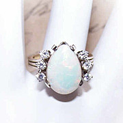 ESTATE 14K Gold, 4CT Natural Opal & .30CT TW Diamond Ring!