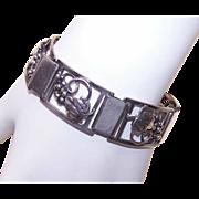 C.1970 STERLING SILVER Link Bracelet (Grapes Motif) by Fir Munksgaard, Faborg, Denmark!