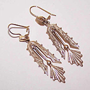 Elegant VICTORIAN REVIVAL 14K Gold Drop Earrings!