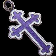 Stunning C.1916 JA&S Sterling Silver and Enamel Cross Pendant!