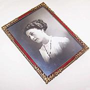ANTIQUE EDWARDIAN Gilt Bronze & Red Enamel Picture Frame in Original Travel Case!