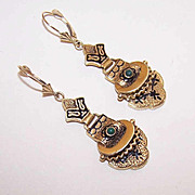 VICTORIAN REVIVAL 14K Gold, Taille D'Epergne Enamel & Turquoise Drop Earrings!