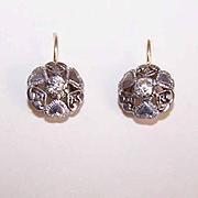 Vintage 9K Gold, 800/900 Silver & Rhinestone Paste Earrings!