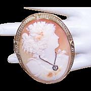 Huge ART DECO Cornelian Shell Cameo Pin/Pendant Combo in 14K Gold - Lady Wearing Diamond ...