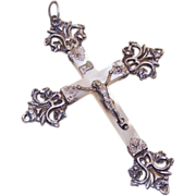 SOLD C.1900 FRENCH 800/900 Silver & Mother of Pearl Crucifix/Cross Pendant!