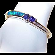 ESTATE 14K Gold, Black Opal, 3.58CT TW Tanzanite & Diamond Hinged Bangle Bracelet!