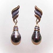 ESTATE Sterling Silver Vermeil & Baroque Black Pearl Drop Earrings!