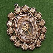 ANTIQUE EDWARDIAN Silver Gilt Religious Reliquary Pendant!