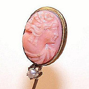ANTIQUE EDWARDIAN 10K Gold, Natural Pearl & Carved Coral Cameo Stick Pin