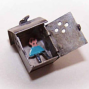Vintage STERLING SILVER & Enamel Charm - Man in an Outhouse!
