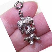 SOLD Vintage MONET Silverplate Charm - Standing Puppy/Dog!