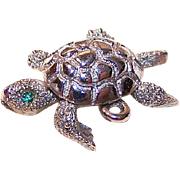 Vintage MONET Silverplate Charm - Mechanical Turtle!