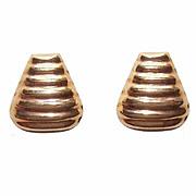 Vintage 18K Gold Pierced Earrings - Ripple Fronts!