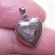 DESTASH!  Vintage Sterling Silver Heart Locket Pendant or Charm!