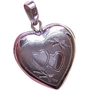 Vintage STERLING SILVER Heart Locket Charm or Small Pendant!