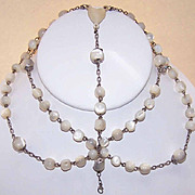 C.1900 FRENCH 800/900 Silver & Mother of Pearl Rosary Section - Add Your Own Crucifix!