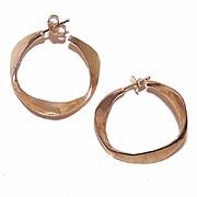 RETRO MODERN 14K Gold Hoop Earrings for Pierced Ears!