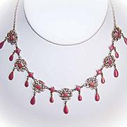 C.1900 MARIUS HAMMER 930 Silver & PINK Enamel Filigree Drop Necklace!