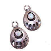 "Pair of Vintage STERLING SILVER & Opal ""Bear Paw"" Drops - Earrings or Charms!"