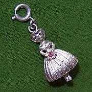 Vintage MONET Silverplate Charm - Bridesmaid!