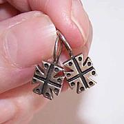 Vintage STERLING SILVER Earrings - Maltese Cross Design!