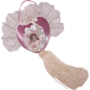 Vintage Handmade CHRISTMAS ORNAMENT - Mauve Velvet, Mother of Pearl Buttons & Lace!