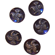 SOLD Set of 5 ANTIQUE VICTORIAN Iridescent Background & Brass Floral Buttons!