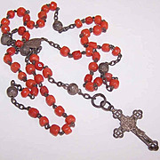 French ANTIQUE VICTORIAN 800/900 Silver & Coral Rosary!