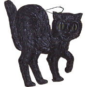 1940s GERMAN MADE Halloween Pressed Paper Black Cat!