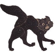 SOLD C.1930 MADE IN USA Halloween Ornament - Mechanical Black Cat!